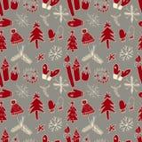 Het naadloze patroon van Kerstmis Vector illustratie Stock Fotografie