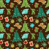 Het naadloze patroon van Kerstmis Vector illustratie Stock Afbeeldingen
