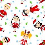 Het naadloze patroon van Kerstmiskinderen. Royalty-vrije Stock Foto