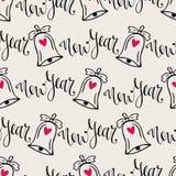 Het naadloze patroon van Kerstmisklokken met kalligrafie Vector moderne achtergrond voor Nieuwjaar verpakkend document stock illustratie