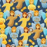 Het naadloze patroon van kleine engelen met vleugels houdt muzikaal inst stock illustratie