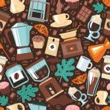 Het naadloze patroon van het koffiehuis vector illustratie