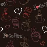 Het Naadloze Patroon van koffiekrabbels Stock Afbeelding