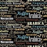 Het naadloze patroon van koffiewoorden Royalty-vrije Stock Foto's