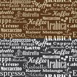 Het naadloze patroon van koffiewoorden Stock Afbeeldingen