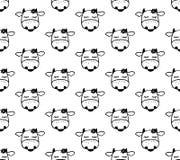Het naadloze patroon van het krabbelbeeldverhaal met koeien royalty-vrije illustratie