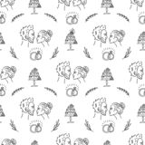 Het naadloze patroon van het krabbelhuwelijk met decoratieve elementen vector illustratie