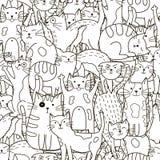 Het naadloze patroon van krabbelkatten Zwart-witte leuke kattenachtergrond Stock Afbeelding