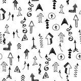 Het Naadloze Patroon van krabbelpijlen Het kan voor prestaties van het ontwerpwerk noodzakelijk zijn Concept Ra Stock Foto's