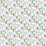 Het naadloze patroon van krabbels Stock Foto's
