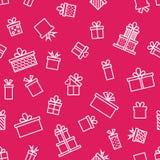 Het in naadloze patroon van het lijnpictogram met gift, vectorillustratie Royalty-vrije Stock Foto's