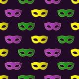 Het naadloze patroon van Mardi Gras Carnival met kleurrijke maskers Stock Fotografie