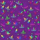 Het naadloze patroon van Mardi Gras met Carnaval-masker, confettien, komediemaskers en petard op purpere achtergrond vector illustratie