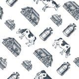 Het naadloze patroon van het melklandbouwbedrijf De koe, landbouwbedrijf, melk kan gegraveerde illustratie Uitstekende landbouw e stock illustratie