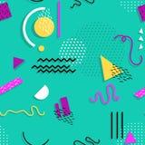 Het naadloze patroon van Memphis van geometrische vormen voor weefsel en prentbriefkaaren stock illustratie