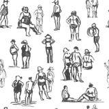 Het naadloze patroon van mensenschetsen Stock Afbeeldingen