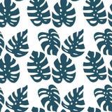 Het naadloze patroon van het Monsterablad op witte achtergrond Vectorillustratie ter beschikking getrokken vlakte stock illustratie