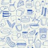 Het naadloze patroon van ontbijtkrabbels Stock Fotografie