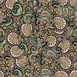 Het naadloze patroon van Paisley Paisley bloeit patroon Hand Getrokken Paisley Het patroon van hennamehndi Het geklets van hennap Stock Foto