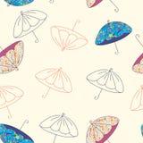 Het naadloze patroon van paraplu's Stock Fotografie