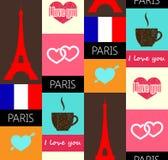 Het naadloze patroon van Parijs Stock Afbeelding