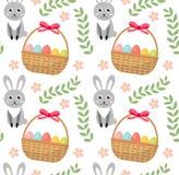 Het naadloze patroon van Pasen met eierenmand en konijn Eindeloze de Lenteachtergrond, textuur, digitaal document Vector Royalty-vrije Stock Afbeeldingen