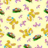 Het naadloze patroon van Pasen met konijntjes en eieren Stock Foto's