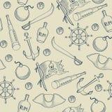 Het naadloze patroon van piratenelementen Royalty-vrije Stock Afbeelding
