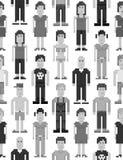 Het naadloze patroon van pixelmensen Stock Foto