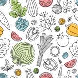 Het naadloze patroon van pretgroenten Lineaire grafisch De achtergrond van groenten Skandinavische stijl Gezond voedsel Vector il royalty-vrije illustratie
