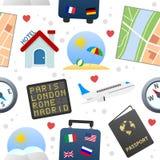 Het Naadloze Patroon van reispictogrammen Stock Fotografie