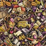 Het naadloze patroon van schoolkrabbels Dag van de kunstachtergrond van de kennishand getrokken krabbel Terug naar schoolaffiche  Stock Foto