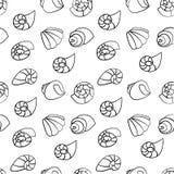 Het naadloze patroon van Shell op de witte achtergrond Vector Illustratie