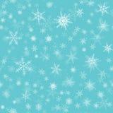 Het Naadloze Patroon van sneeuwvlokken De vloksterren van de de wintersneeuw, dalende vlokkensneeuw en gesneeuwde sneeuwval stock foto's