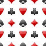 Het Naadloze Patroon van speelkaartenkostuums Stock Foto's