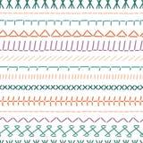 Het naadloze patroon van steekgrenzen Kleuren naaiende naden stock illustratie