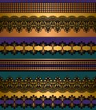 Het naadloze Patroon van Strepen Streepreeks Kant Boheemse Naadloze Grenzen Decoratieve ornamentachtergrond voor stof, textiel, h vector illustratie