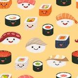 Het naadloze patroon van sushiemoji, beeldverhaalstijl vector illustratie