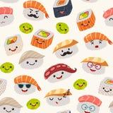 Het naadloze patroon van sushiemoji, beeldverhaalstijl stock illustratie