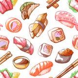 Het naadloze patroon van het sushivoedsel op witte achtergrond Royalty-vrije Stock Afbeeldingen