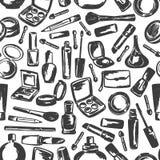 Het naadloze patroon van tekeningsschoonheidsmiddelen uit de vrije hand Royalty-vrije Stock Afbeeldingen