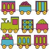 Het naadloze patroon van treinen Royalty-vrije Stock Foto's