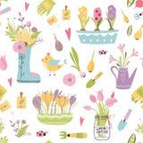 Het naadloze patroon van het tuinhulpmiddel Vectorillustratie van de lente het tuinieren elementen Gelukkig het tuinieren stoffen royalty-vrije illustratie