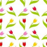 Het naadloze patroon van tulpen Stock Foto