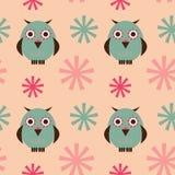 Het naadloze patroon van uilen Royalty-vrije Stock Afbeelding