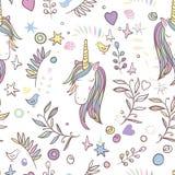 Het naadloze patroon van Unicorn Rainbow Stock Foto