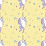 Het naadloze patroon van Unicorn Rainbow Stock Fotografie