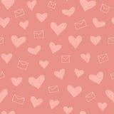 Het naadloze patroon van valentijnskaarten Stock Foto's
