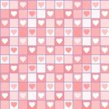 Het naadloze patroon van Valentine met harten in kooien Royalty-vrije Stock Afbeeldingen