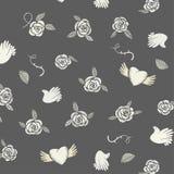 Het naadloze patroon van Valentine op een grijze achtergrond Stock Fotografie